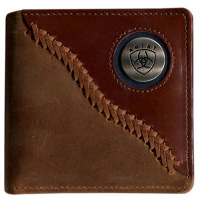 Ariat Bi-fold Wallet Two Toned Stitched Dark Brown WLT2113A