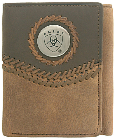 Ariat Tri-Fold Wallet - Two Toned Accents Tan WLT3101A