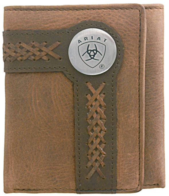 Ariat Tri-Fold Wallet - Accent Overlay Brown / Tan WLT3102A