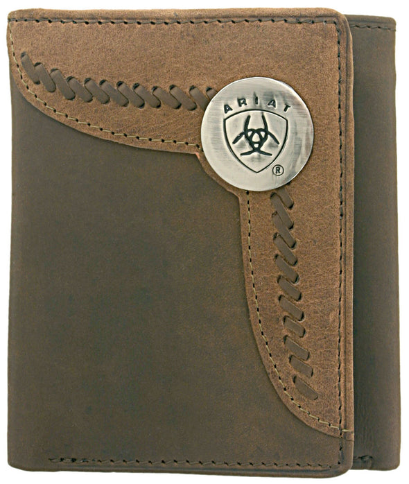 Ariat Tri-Fold Wallet - Two Toned Accent Overlay Brown / Tan WLT3103A
