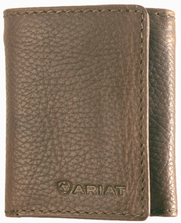 Ariat Tri-Fold Wallet - Logo Distressed Brown WLT 3105A