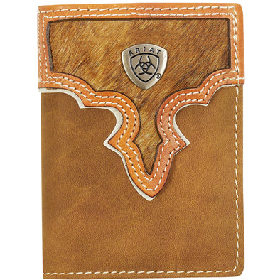 Ariat Tri-Fold Wallet - Two Toned Hair On Brown WLT3108A