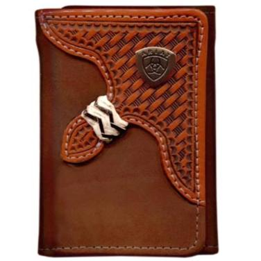 Ariat Tri-Fold Wallet - Basket Weave Overlay Dark Brown WLT3111A