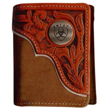 Ariat Tri-Fold Wallet - Tooled Overlay Dark Tan WLT3112A