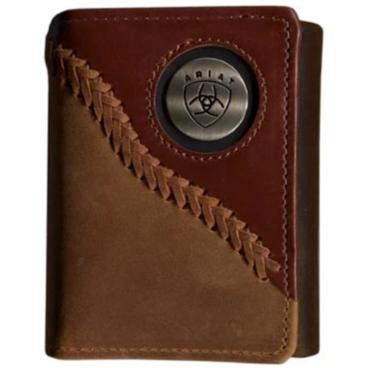 Ariat Tri-Fold Wallet - Two Toned Stitched Dark Tan WLT3113A