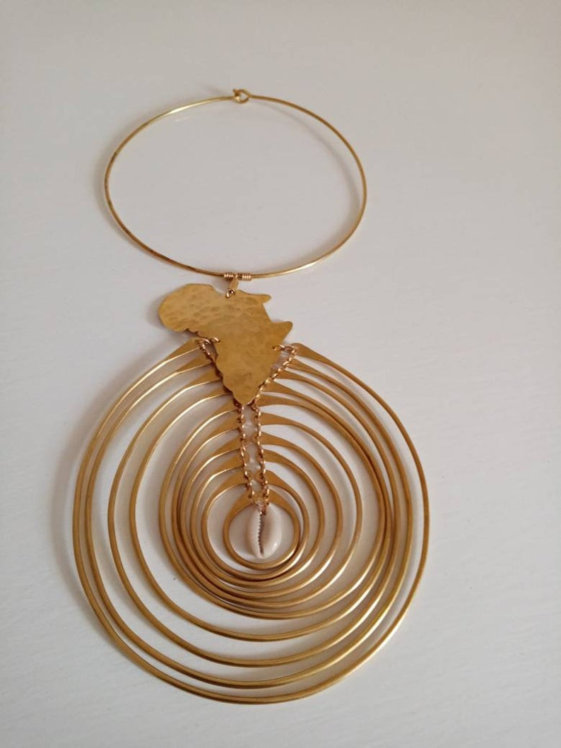 Brass Africa Map Necklace