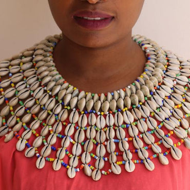 Colorful Cowrie Shawl Necklace