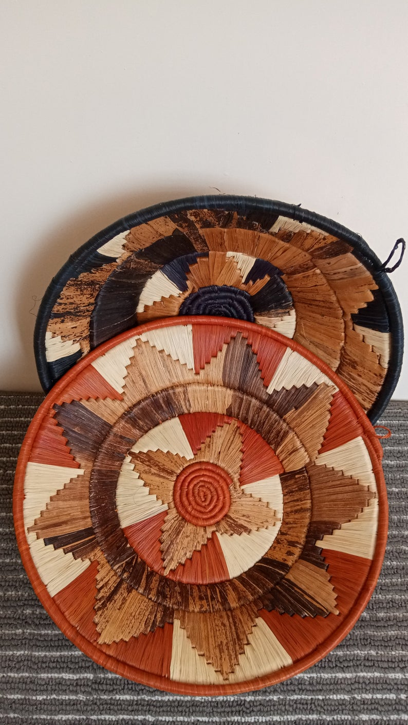 Black & Orange Woven Basket Set