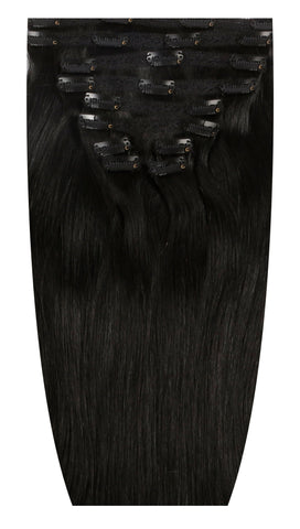 #1 Black Hair Extensions Jet Black Clip Ins