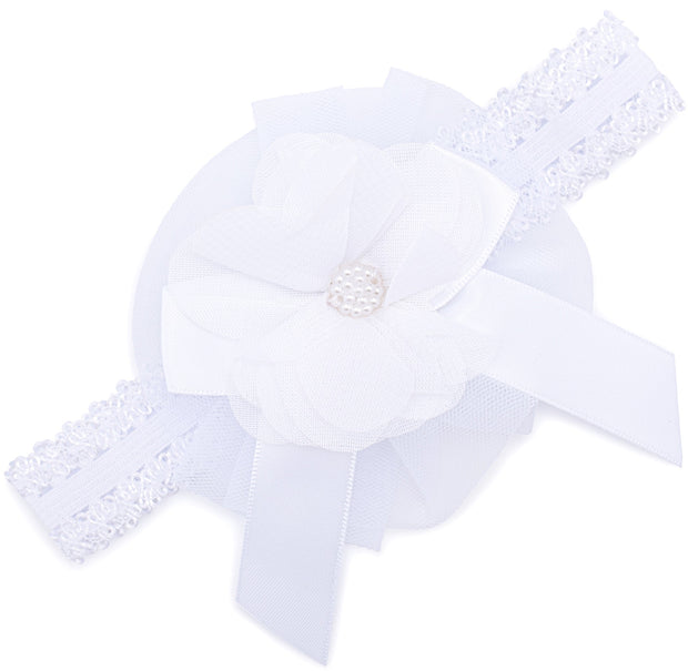 Baby Headband Girls Lace Flower Satin Bow /& Gems Hair Bands White by Soft Touch