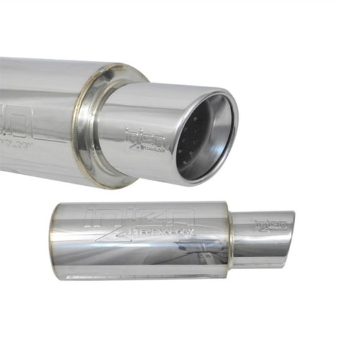 SES225C - Injen 2 3/8 Inlet Universal Muffler  With Stainless Steel Resonated Rolled Tip