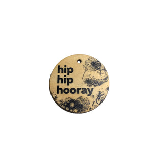 Hip Hip Hooray Timber Gift Tag