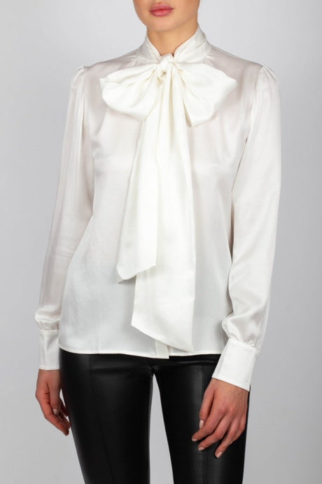 Bow blouse Mary silk strech Ivory