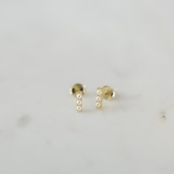 Pearl Bar Studs - Gold