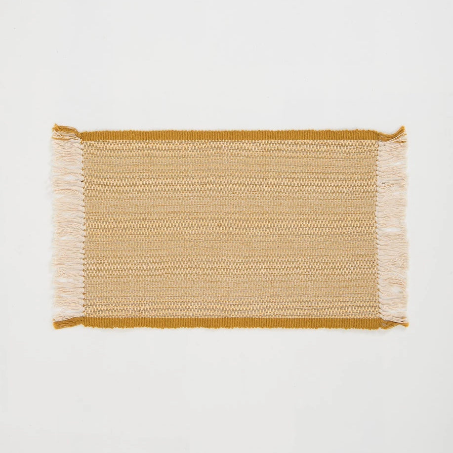 Selvedge Edge Hand Loom Mat - Citron/Natural
