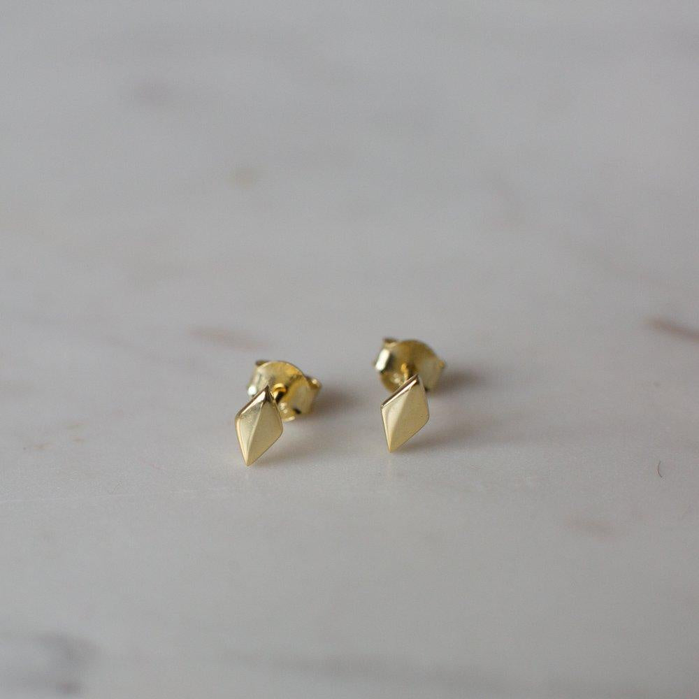 Diamond Stud Earrings - 14kt Gold Plated