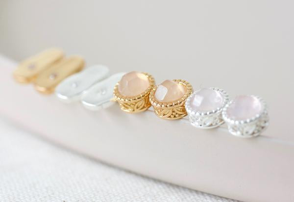Rose Quartz Filigree Studs - Gold