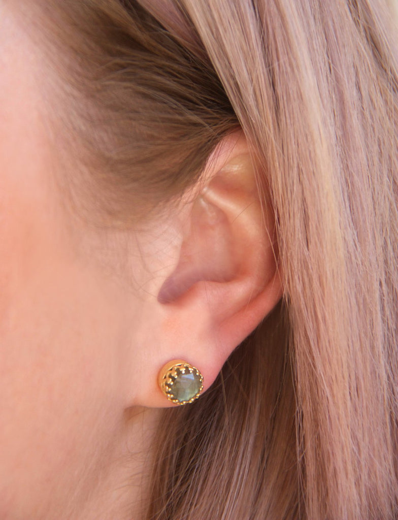 Labradorite New Bloom Studs | Gold