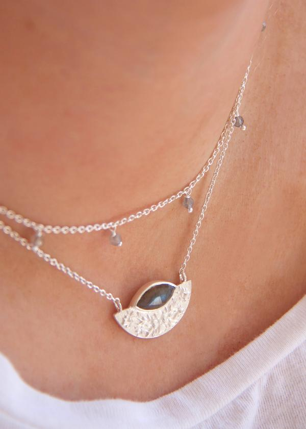 Floral Droplet Necklace | Silver