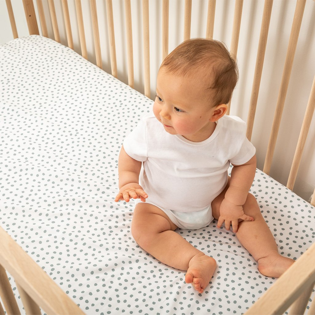 Fitted Cot Sheets - Spots - Sage