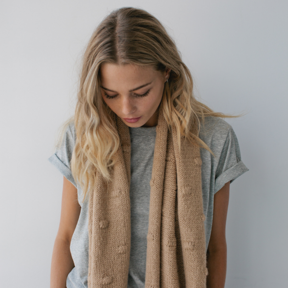 Bobble Knit Scarf - Wheat