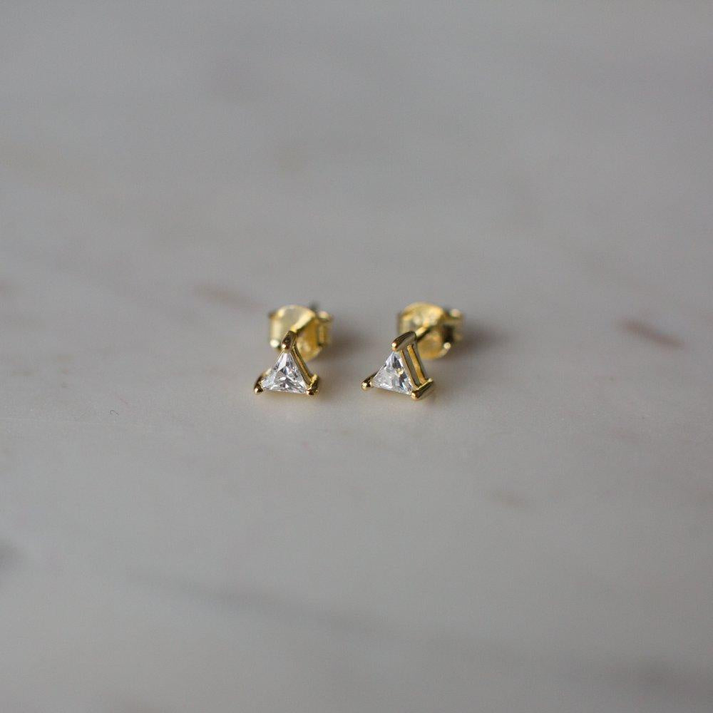 You Rock Triangle Stud Earring - 14kt gold plated
