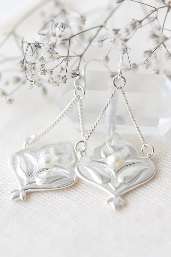 Lotus Drop Earrings - Silver