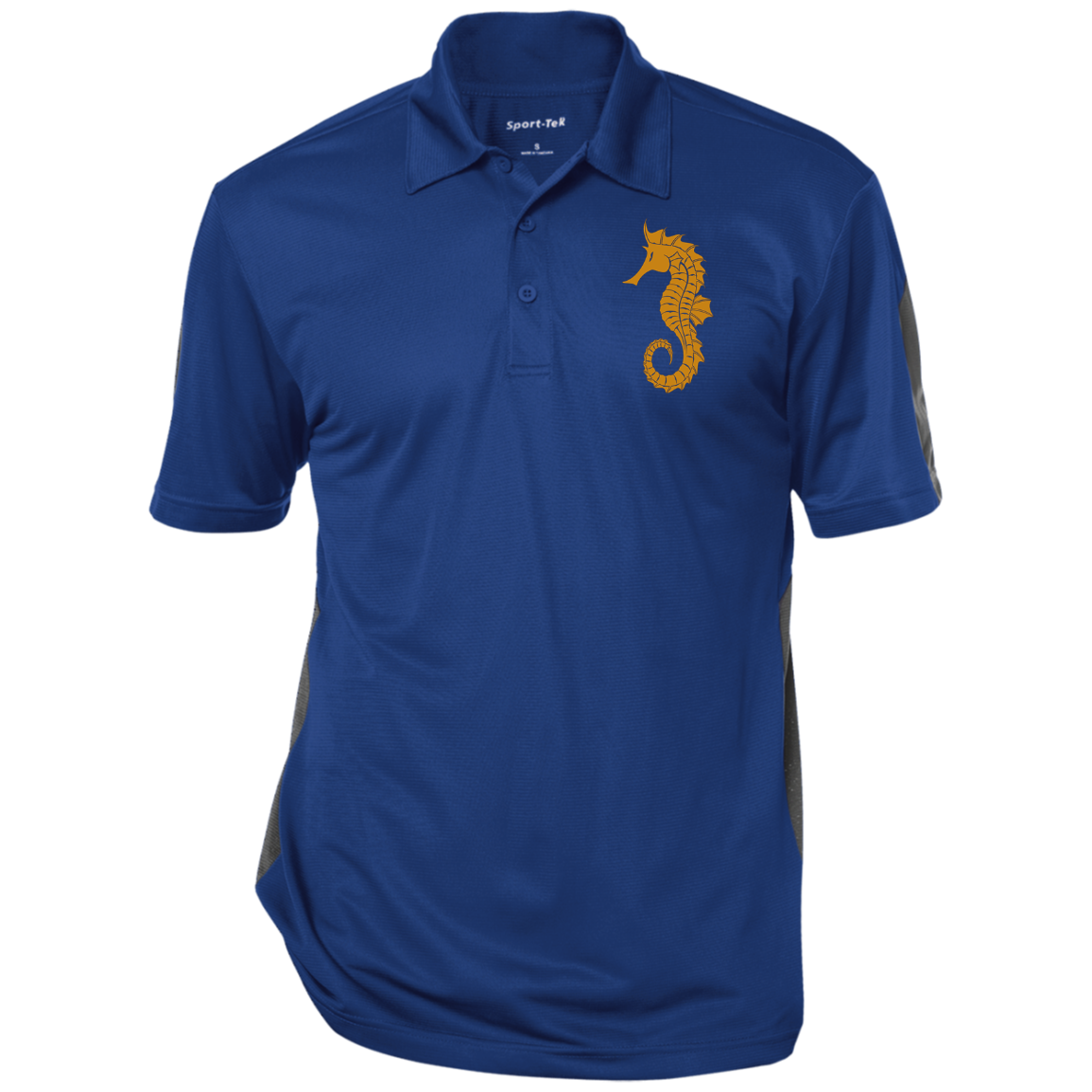 "Embroided fatherhood Symbol: ""Father Hippocampus"" , Seahorse. Performance Textured Three-Button Polo. BARS"