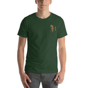 "Embroided fatherhood Symbol: ""Father Hippocampus"" , Seahorse. Short-Sleeve Unisex T-Shirt"