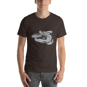 "Curling Octopus illustration in grey. ""Marine Creaturz"" Collection. Short-Sleeve Unisex T-Shirt"