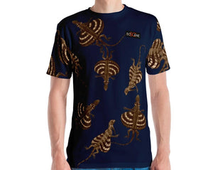 """Dracos R Fly"" in gold version. Navy. Men's T-shirt"