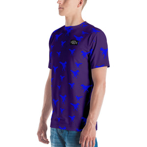Funky Dino in Pixel art, Royal Blue T-rex. In Indigo. Men's T-shirt