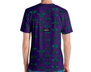 """Insect Vibrations"" in emerald blue (design's color). Indigo. short-sleeved T-shirt"