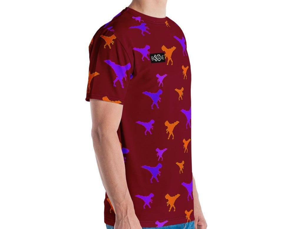 Funky Dino in Pixel art, Purple & Orange T-rex. 4 COLOR VARIANTS. Men's T-shirt