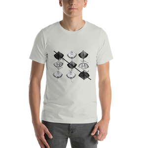 Tic-Tac-Toe Mantas, in Black and White. Short-Sleeve Unisex T-Shirt