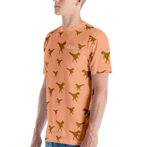 Funky Dino in Pixel art, GOLDEN T-rex. In Peach Orange. Men's T-shirt