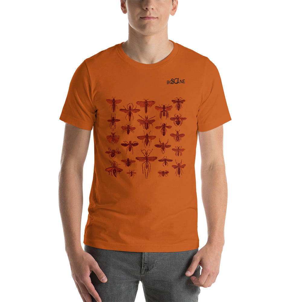 """Insect Vibrations"" in burgundy, Front panel style, Short-Sleeve Unisex T-Shirt"