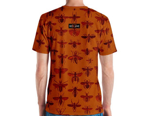 """Insect Vibrations"" in burgundy (design's color). Burnt orange. 5 COLOR VARIANTS. short-sleeved T-shirt"