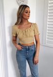 Lily Gingham Ruched Crop Top-Blush View Boutique