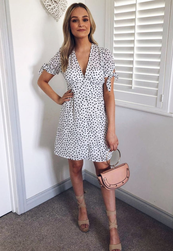 Esme Polka Dot Tea Dress-Blush View Boutique
