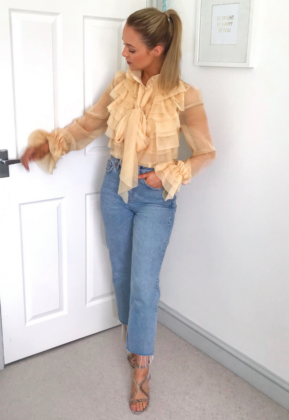 Estelle Ruffle Blouse-Blush View Boutique