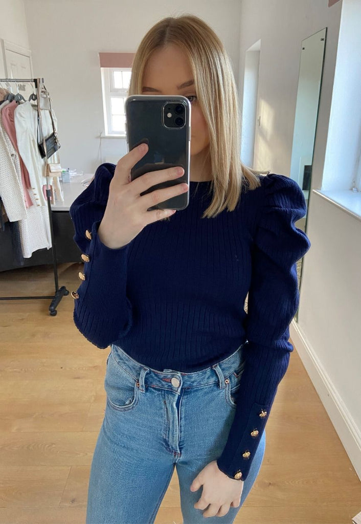 Hazel Rib Puff Sleeve Jumper in Navy