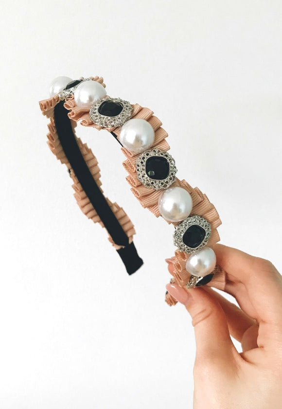 Clarissa Embellished Hairband-Blush View Boutique
