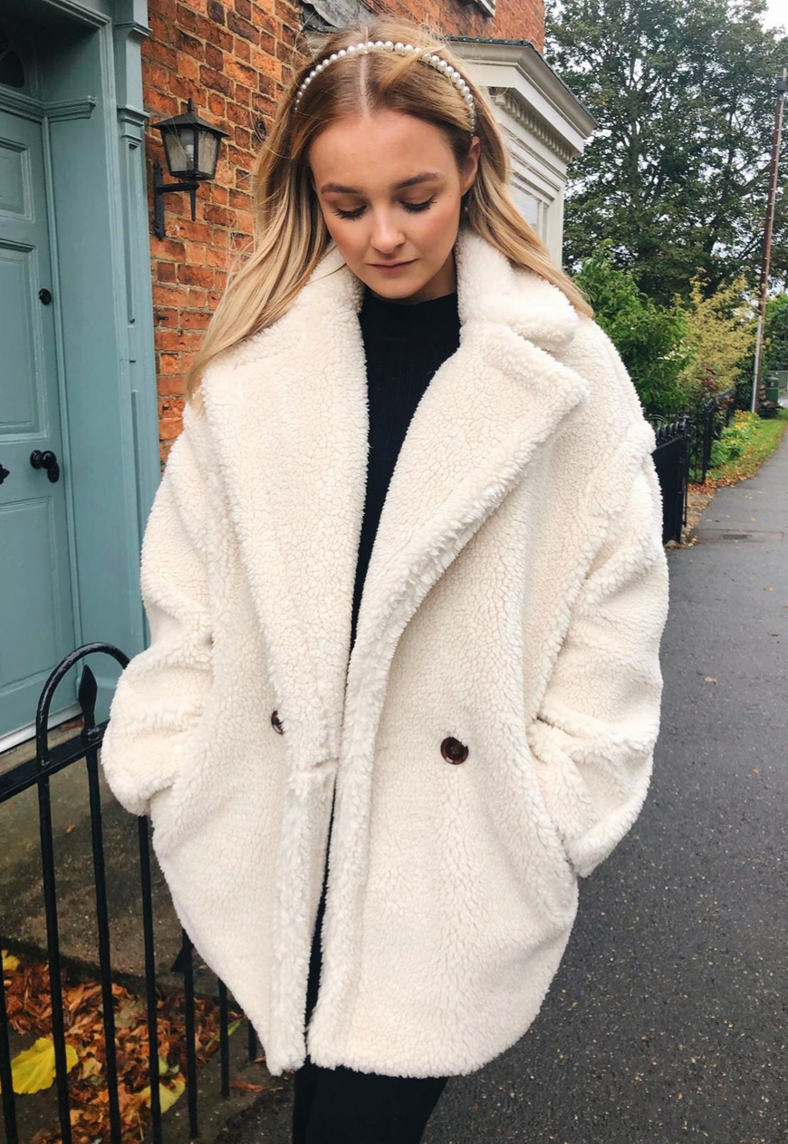 Delilah Double Breasted Borg Coat