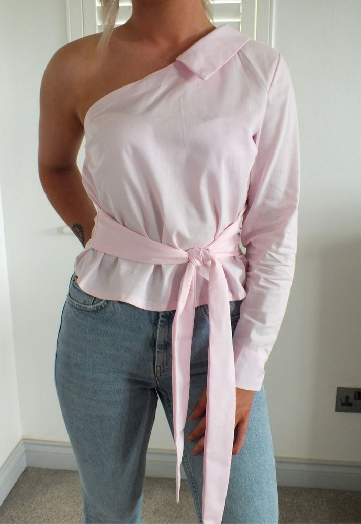 Celine One Shoulder Asymmetric Shirt in Pink