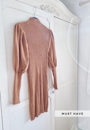 Margot Puff Sleeve High Neck Rib Panel Knitted Jumper Dress in Camel