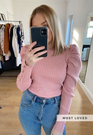 Hazel Rib Puff Sleeve Jumper in Pink