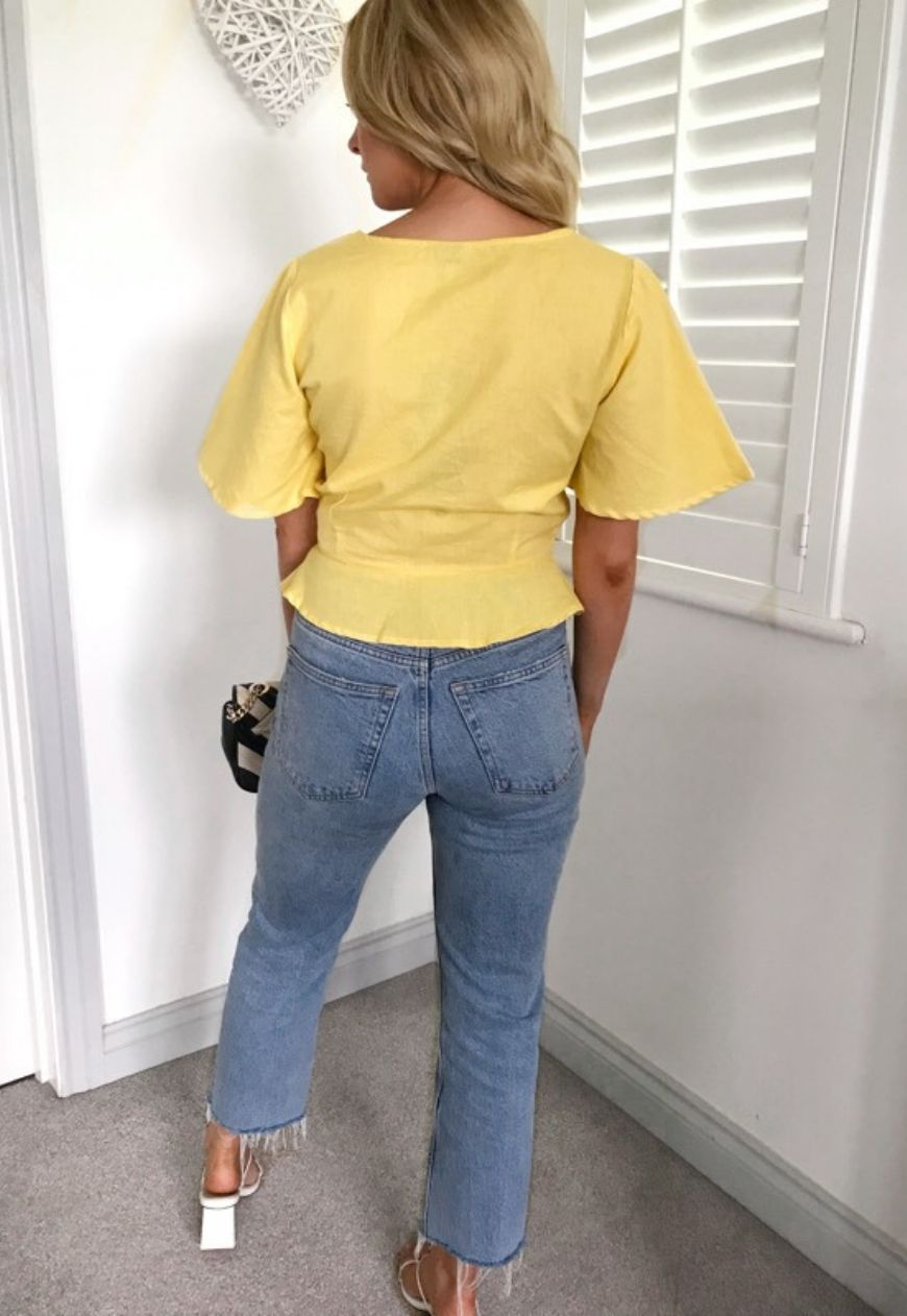 Camilla Sweetheart Neck Top in Yellow-Blush View Boutique