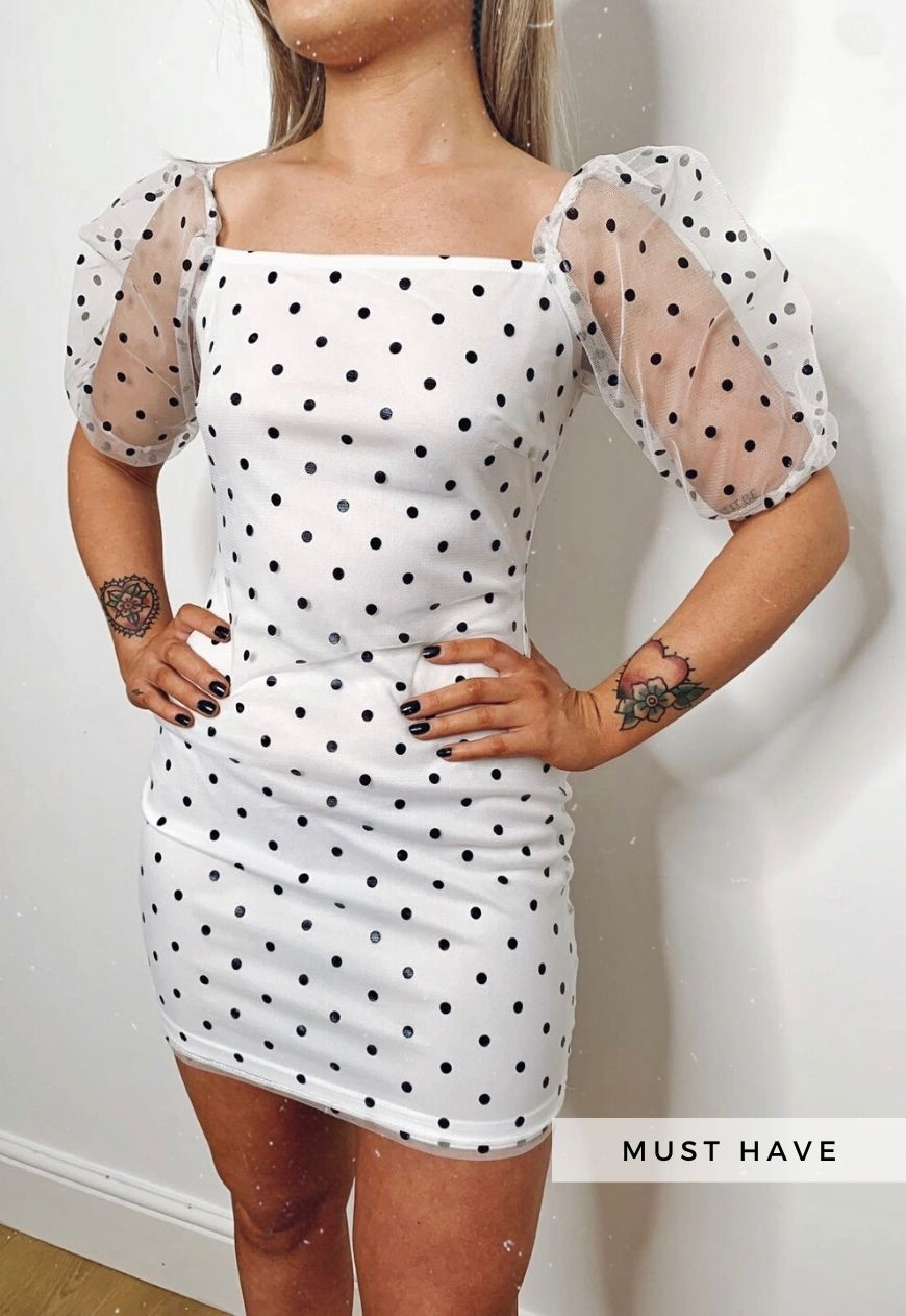 Mollie Polka Dot Sheer Puff Sleeve Bodycon Dress