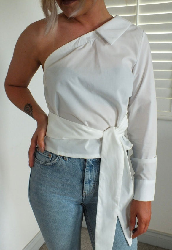 Celine One Shoulder Asymmetric Shirt in White